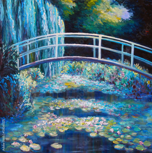 Original oil painting on canvas - Bridge through a pond with water lilies