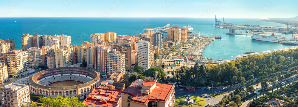 Fototapeta Cityscape of Malaga city. Bull Ring, Plaza la Malagueta, Andalusia, Spain