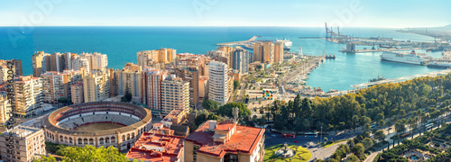 Cityscape of Malaga city. Bull Ring, Plaza la Malagueta, Andalusia, Spain