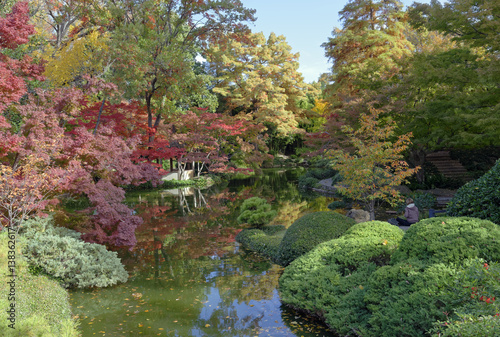 Foto op Canvas Zen Fall colors in the Japanese Garden, Fort Worth, Texas, U.S.A.