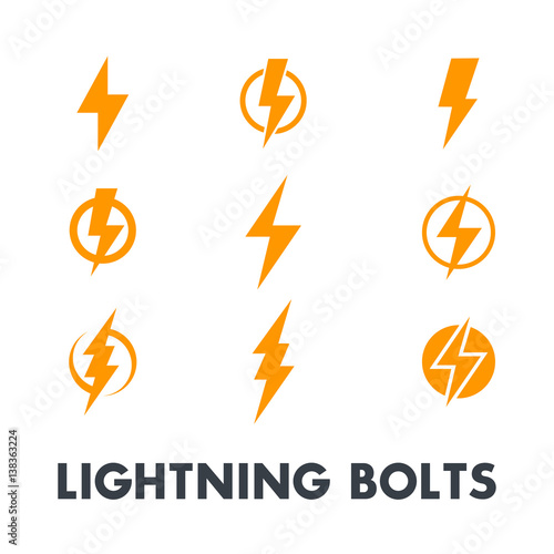 Photo  Lightning bolt vector signs, icons isolated over white