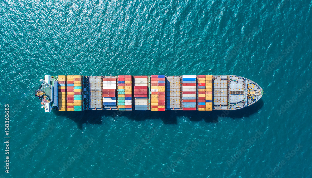 Fototapety, obrazy: container ship in import export and business logistic.By crane ,Trade Port , Shipping.cargo to harbor.Aerial view.Water transport.International.Shell Marine.Top view.
