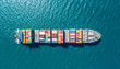 canvas print picture - container ship in import export and business logistic.By crane ,Trade Port , Shipping.cargo to harbor.Aerial view.Water transport.International.Shell Marine.Top view.