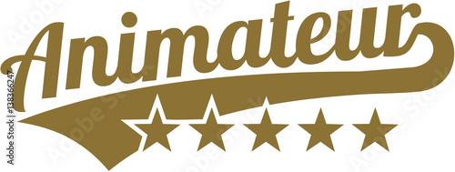 Pinturas sobre lienzo  Animator word with five golden stars