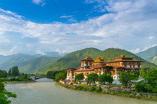 Punakha Dzong Monastery, One Of The Largest Monestary In Asia, Punakha, Bhutan