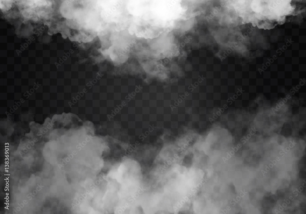 Fototapeta Fog or smoke isolated transparent special effect. White vector cloudiness, mist smog background. illustration