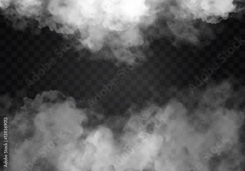 Foto op Plexiglas Rook Fog or smoke isolated transparent special effect. White vector cloudiness, mist smog background. illustration