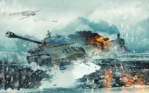 Fotografia, Obraz Soviet battle tank on the background of the burning locomotive attacked