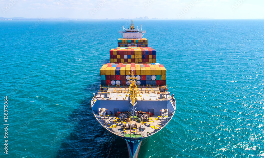 Fototapety, obrazy: container ship in import export and business logistic.By crane ,Trade Port , Shipping.cargo to harbor.Aerial view.Top view.
