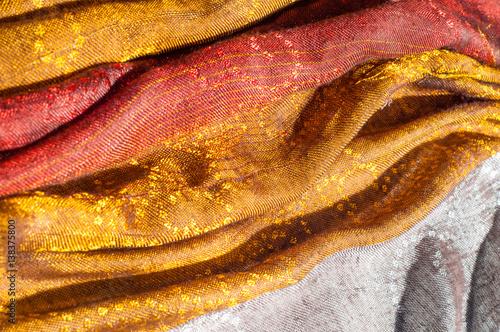 In de dag Macrofotografie The texture of wool fabric yellow red golden