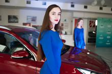 Woman Model At The Presentation Of A New Car
