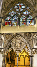 Interior Arches Stained Glass Chapter House Westminster Abbey London England