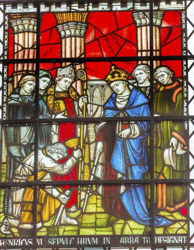 Photo Henry VI King Stained Glass Chapter House Westminster Abbey London England