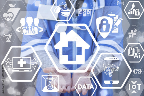 House medical cross medicine health care integration IT concept ...