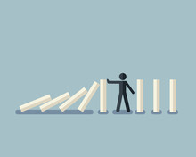 Stick Figure Stopping The Domino Effect With Falling White Dominoes