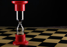 Hourglass On Empty Chess Board, Shallow DOF With Selective Focus