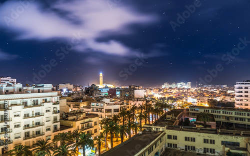 Photo  Aerial Panorama of Casablanca in Morocco at night