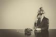 canvas print picture - Vintage businessman sitting at office desk