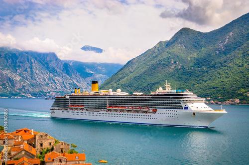 Canvas Prints Ship Beautiful mediterranean landscape. Cruise ship near town Perast, Kotor bay (Boka Kotorska), Montenegro.