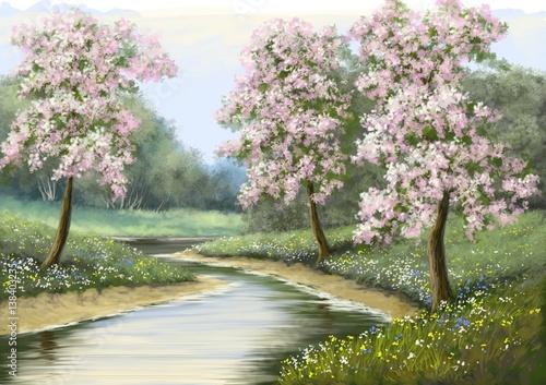 Wiosna, kwiat, rzeka, obrazy