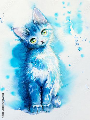 Siedzący śliczny mały błękitny kot. Obraz stworzony akwarelami.