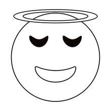 Angel Emoticon Style Thin Line Vector Illustration Eps 10