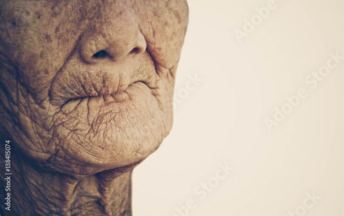 Closeup mouth of elderly woman toothless with space to add text Wallpaper Mural