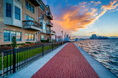 Aluminium Prints Salmon The Waterfront Promenade at sunset, in Canton, Baltimore, Maryland.