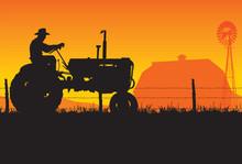 Old Farmer Silhouette