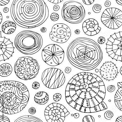 Fotomurales - Abstract spirals and circles, seamless pattern for your design