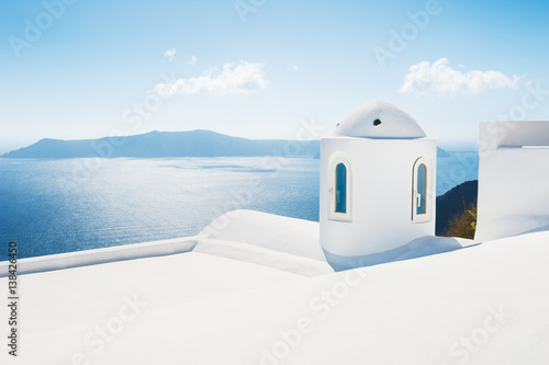 Poster Santorini White architecture on Santorini island, Greece
