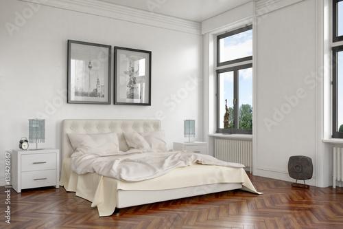 modern eingerichtetes schlafzimmer in einer sanierten altbauwohnung in berlin