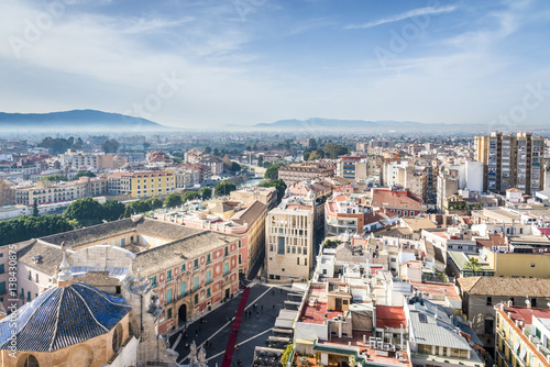 Aerial view of Murcia from Cathedral Church of Saint Mary, Spain.
