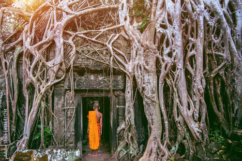Foto op Plexiglas Oude gebouw The monks and Trees growing out of Ta Prohm temple, Angkor Wat in Cambodia.