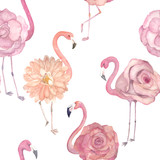 Watercolor seamless pattern with exotic flamingo, flowers. Summer decoration print for wrapping, wallpaper, fabric - 138439497