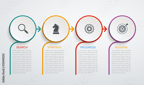 Photographie  Infographic design template  with 4 step structure