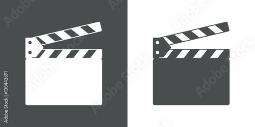 Icono plano claqueta gris y blanco