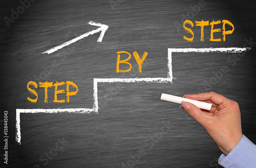 Obraz na plátně  Step by step - Performance and Improvement Concept