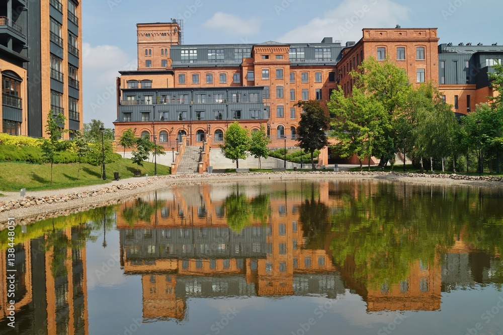 Fototapeta Loft Aparts - Architecture of the city of Lodz,Poland, - Revitalized buildings
