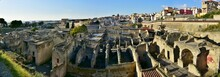 Bird's Eye View Of Ruins Of Ancient Herculaneum (Ercolano), Italy (panorama)