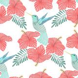 Haftowany koliber, egzotyczny tropikalny ptak z kwiatem hibiskusa. Wektorowej mody ornamentacyjny bezszwowy wzór dla tkaniny. - 138449220