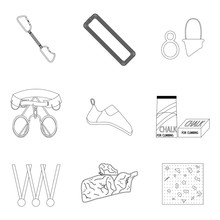 Sports Equipment For Climbing Line Icons Of Set