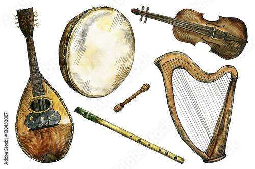 Obraz na plátně Watercolor and ink Irish folk music instruments
