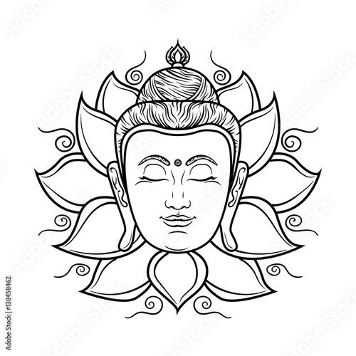 1ee4164d4174e Buddha face isolated on white. Esoteric vintage illustration. Indian,  Buddhism, spiritual art. Hippie tattoo, spirituality, Thai god, yoga zen .