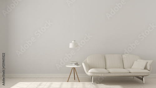 Fototapety, obrazy: Scandinavian minimalistic background, with white sofa on herringbone natural parquet flooring, interior design