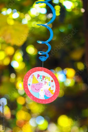 Fotografie, Tablou  Fragment decor, children's holiday decorations, thematic birthda