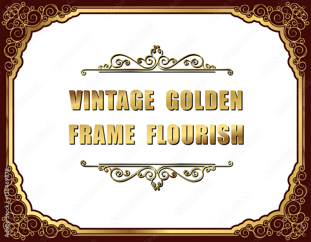 Fotografering  Gold photo frames with corner thailand line floral for picture, Vector frame design decoration pattern style