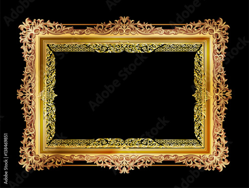 Fotografia  Gold photo frames with corner thailand line floral for picture, Vector frame design decoration pattern style