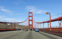 Corssing The Golden Gate Bridge With The North Tower In The Background.