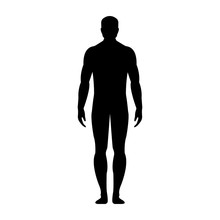 Human Front Side Silhouette. Isolated On White Background. Vector Illustration.